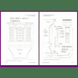 1912 Hogarth House, Chiswick, Window, Cornice Elevation Plan