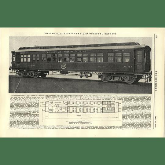 1892 Dining Car Peninsular Oriental Express Calais Brindisi