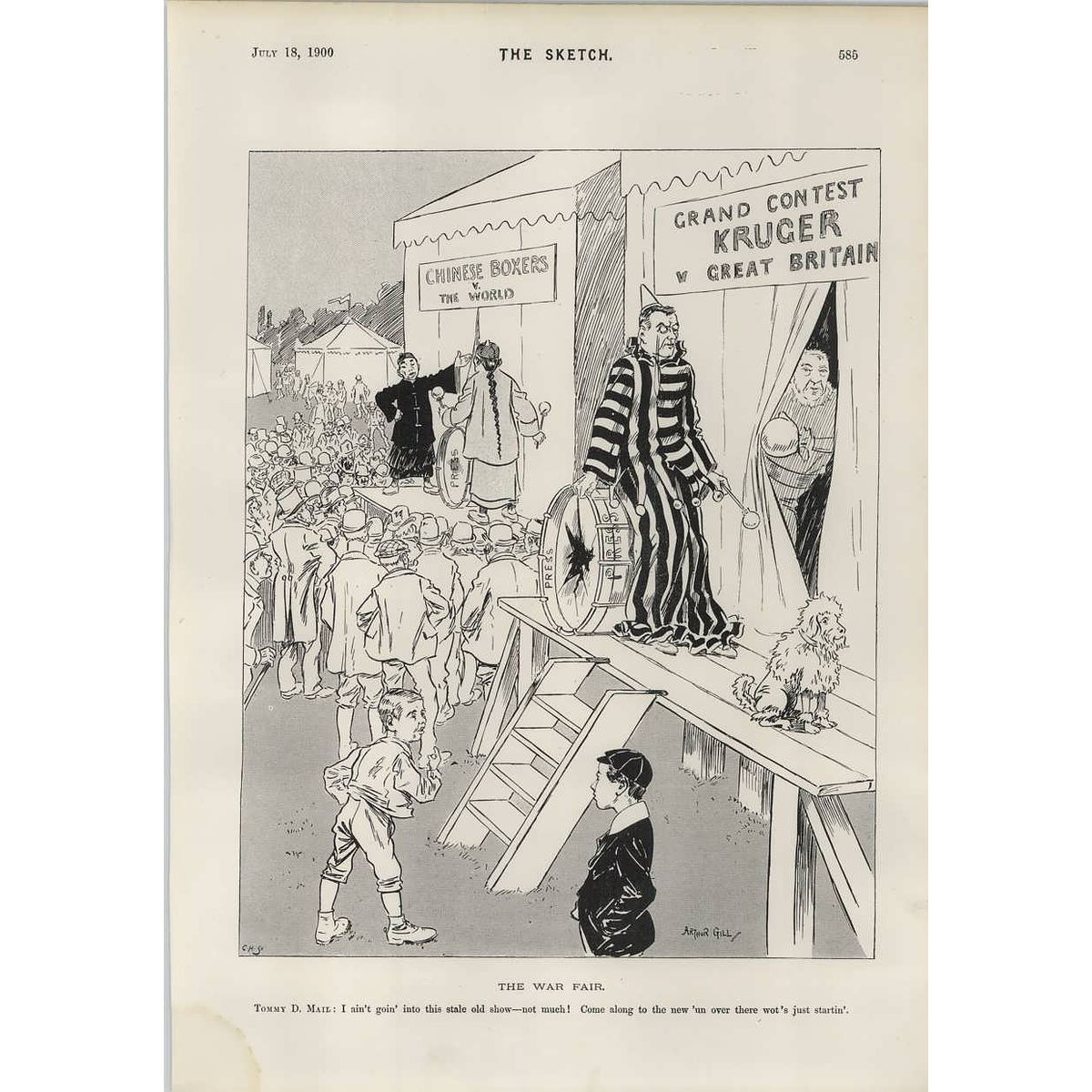 1900 Bored With The Old War New One Gets Attention Cartoon