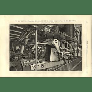 1890 Ss Teutonic Starboard Engines Middle Platform Starboard Corner