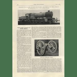1922 Yorkshire Engine Company Sheffield Three Cylinder Locomotive For Spain