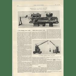 1922 Mobile Electric Battery Crane Wilson Birkenhead Herbert Hexagon Turret Lathe