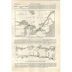 1922 Proposed Great Lakes Atlantic Canal Map Profile Rapids