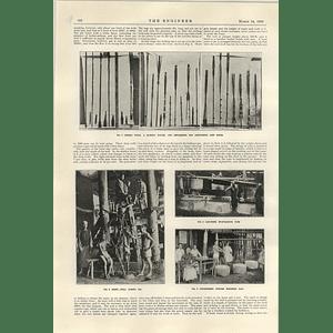 1922 Chinese Brine Wells Bamboo Tools Evaporators Weighing Salt