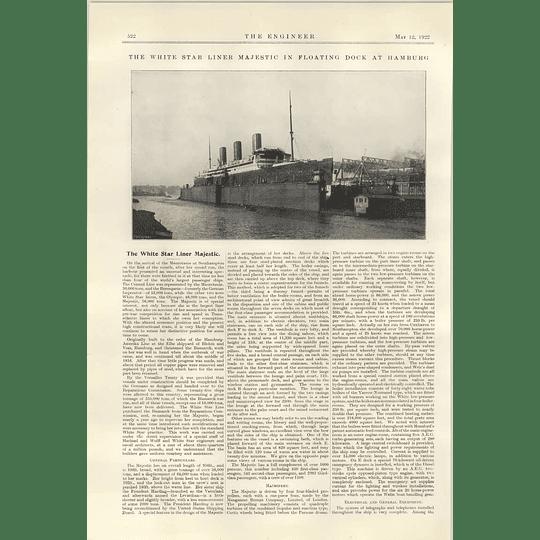 1922 White Star Line Majestic In Floating Dock Hamburg