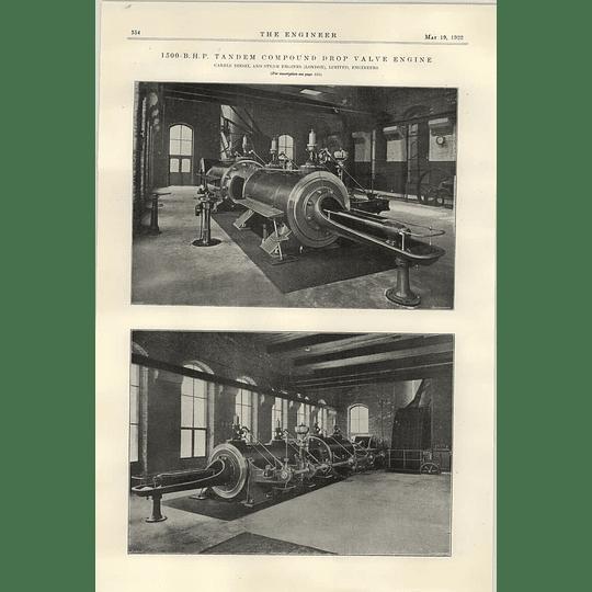 1922 Carels Diesel And Steam Engines Tandem Drop Valve