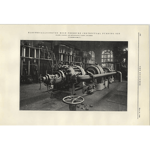 1922 Holden Brooke High-pressure Centrifugal Pump Set
