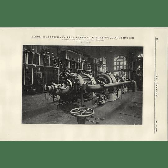 1922 Holden Brooke High-pressure Centrifugal Pump Set