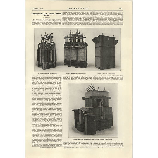 1922 Ferranti Manchester Three-phase Transformers For Holland