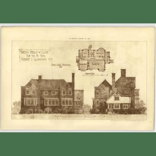 1902 Sketch Design For Herbert Gladstone Mp John Cash Arc