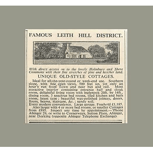 1936 Famous Leith Hill District Old-style Cottages Holmbury, Shere Common, £1185