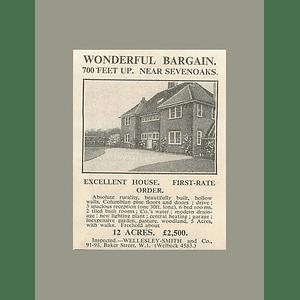 1936 First Rate House Near Sevenoaks 700 Feet Up 12 Acres, £2500