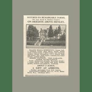 1936 On H8s Above Henley Modern Residence 3 Acres, 4500 Guineas