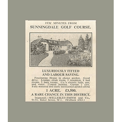 1936 Sunningdale Golf Course, Fascinating House, 1 Acre, £3500