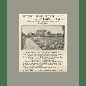 1936 Britain's Lodge, Britain's Lane, Sevenoaks, Prewar Residentce 2 Acres