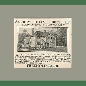 1936 Surrey Hills, 500 Feet Up, Character House Five Bedrooms 1 Acre £2750