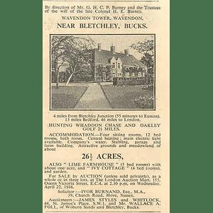 1936 Wavendon Tower Wavendon Bletchley, Large House, 26 Acres