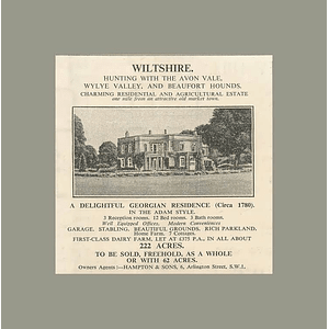 1936 Delightful Georgian Residence, Wiltshire, Hunting Avon Vale Beaufort Hounds