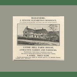 1936 Haslemere, Genuine Elizabethan, Lythe Hill Farmhouse,  9 Acres £3200