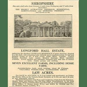 1936 Langford Hall Estate Salop, 21 Bedrooms 7 Farms 1635 Acres