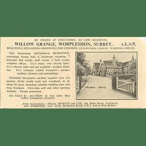 1936 Willow Grange Worplesdon Surrey, Beautiful Situation 62 Acres