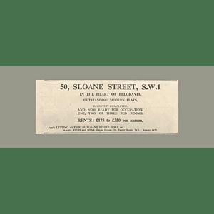 1936 50 Sloane Street, Heart Of Belgravia, Modern Flats, £175 p.a.