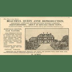 1936 Queen Anne Reproduction, Aldenham Grange Near Watford With 11 Acres
