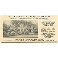 1936 Modernised Hunting Box, Quorn Country, 126 Acres