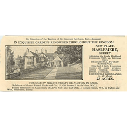 1936 New Place, Haslemere, Surrey, 9 Beds, 23 Acres
