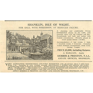 1936 Shanklin, Isle Of Wight, On The Cliffs Five Beds, £2000