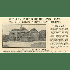 1936 On The Hills Above Pangbourne, Tudor Farmhouse, 20 Acres, £3300