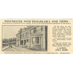 1936 Winchester, 10 Bedrooms, 4 Acres, Fine Views, £4850