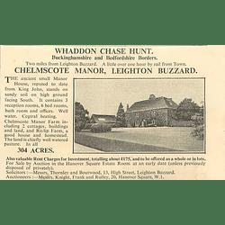 1936 Chelmscote Manor L8on Buzzard, 304 Acres,