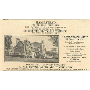 1936 Frognal Priory, Hampstead, Design Norman Shaw, 1 Acre,