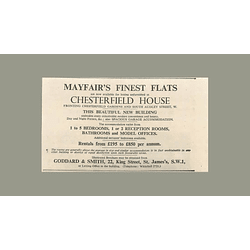 1936 Mayfair's Finest Flats, Chesterfield House, Rentals From £195 p.a.