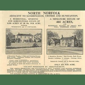 1936 North Norfolk Adjacent Sandringham, Hunstanton, 444 Acres, £20 Per Acre