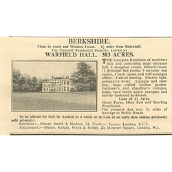 1936 Warfield Hall, Berkshire, 383 Acres