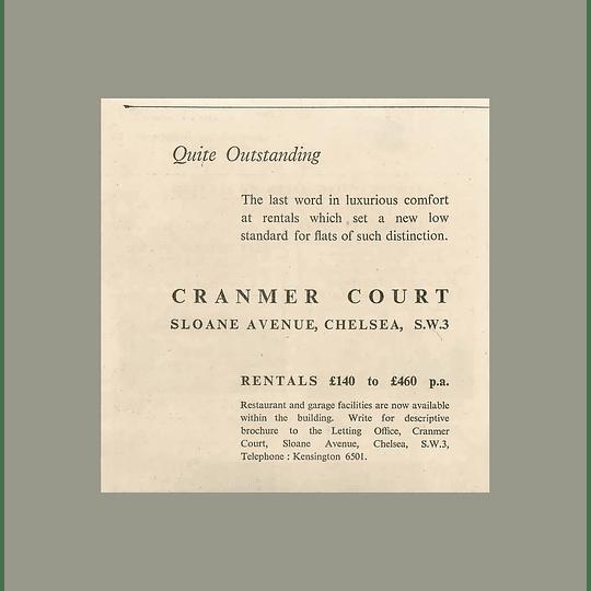 1936 Cranmer Court, Sloane Avenue Chelsea, Rentals £140-£460 p.a.