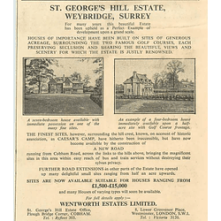 1936 St. George's Hill Estate, Weybridge Surrey, Sites  £1500-£15,000