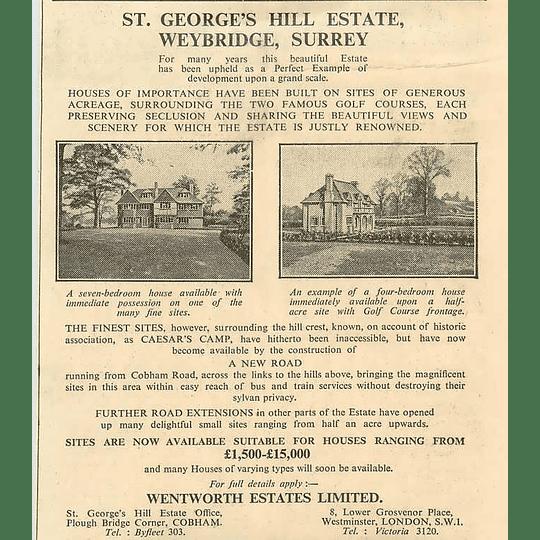 1936 St. George's Hill Estate, Weybridge Surrey, Sites  £1500-£15,000