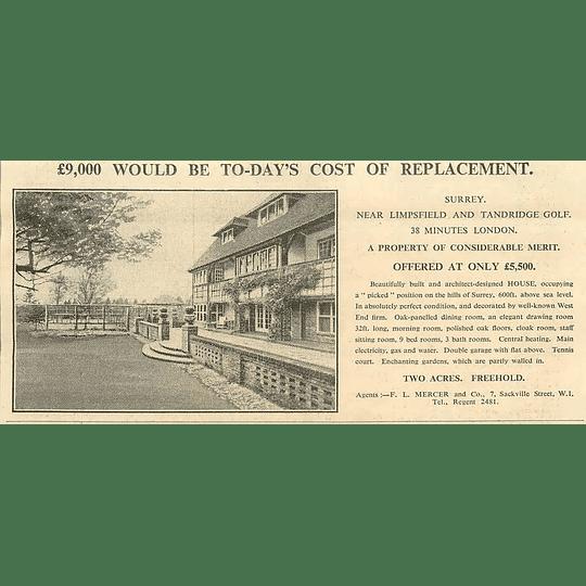 1936 Near Limpsfield And Tandridge Golf, 9 Bedrooms 2 Acres, £5500