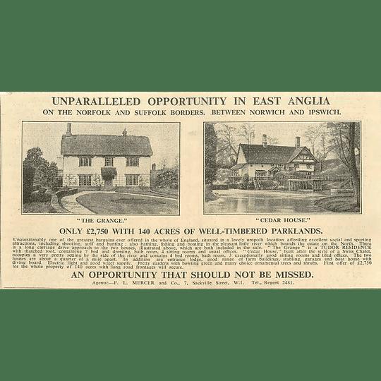 1936 Between Norwich And Ipswich, The Grange, Cedar House, 140 Acres £2750