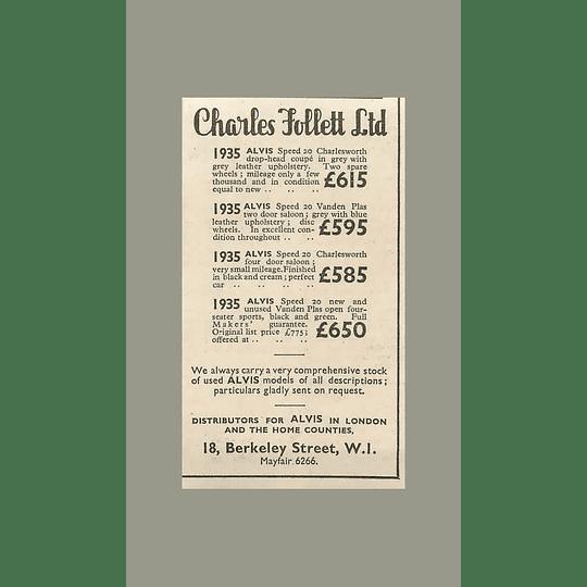1936 Charles Follett, Berkeley Street Mayfair 1935 Alvis £585