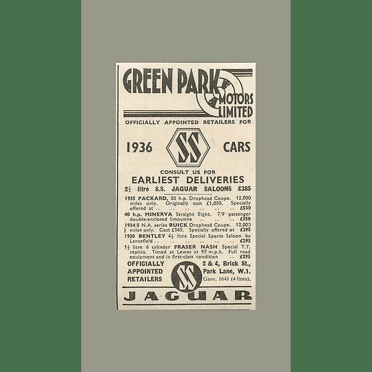 1936 Green Park Motors, 1930 Bentley 4 L Sports Saloon £295