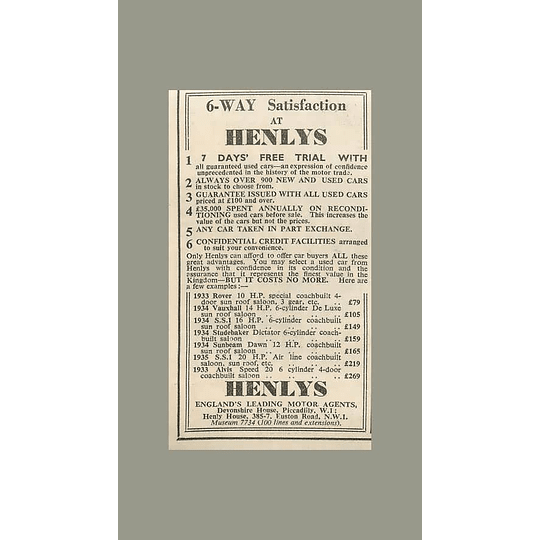 1936 Henlys Motor Agents Devonshire House Piccadilly Alvis Speed £269