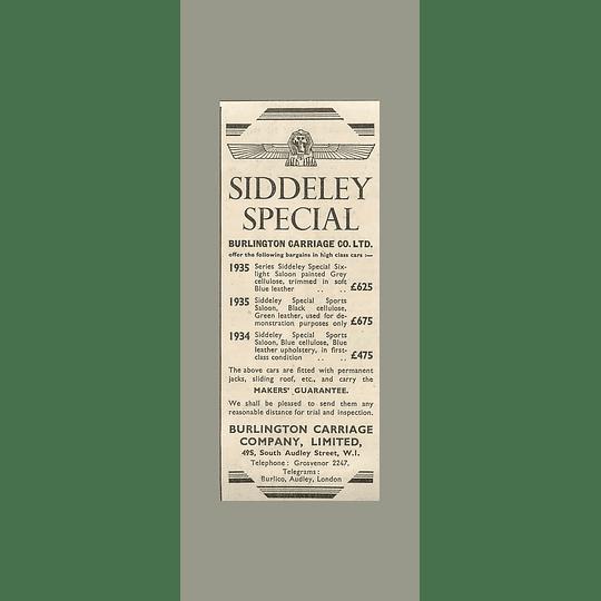 1936 Burlington Carriage Company South Audley Street, Siddeley Sports £475