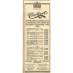 1936 Car Mart Ltd, Lanchester Saloon £165