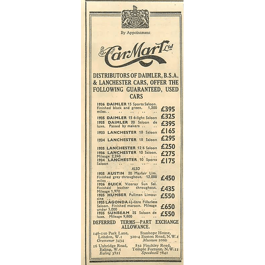 1936 Car Mart Ltd, Lanchester Saloon £165