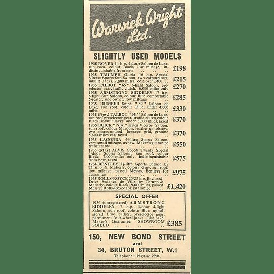 1936 Warwick Wright Ltd New Bond Street Rolls-royce £1420