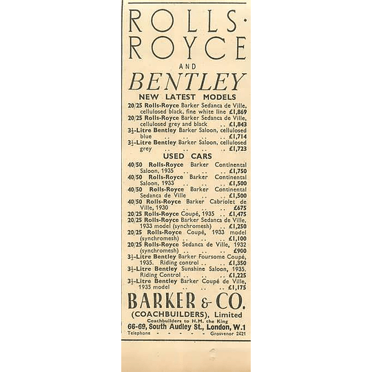 1936 Barker Coachbuilders, Rolls-royce And Bentley, South Audley Street London
